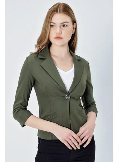 Jument Süs Cepli Kapri Kol Düğmeli Blazer Mono Kısa Ceket-Yeşil  Haki
